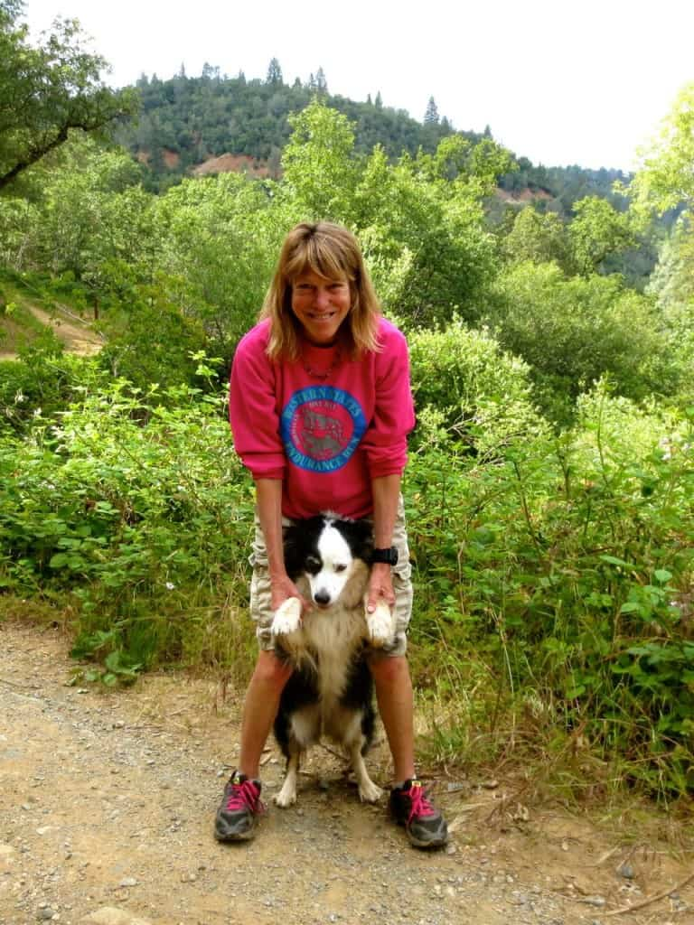 Ann Trason with her dog Zoey on the WS trail